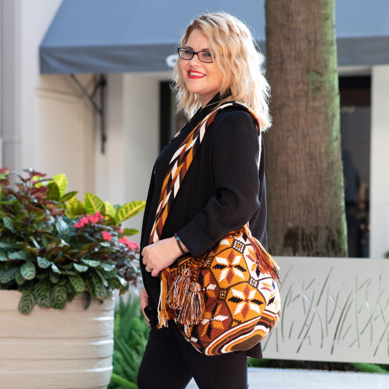 lady with handbag The Woodlands TX Market Street
